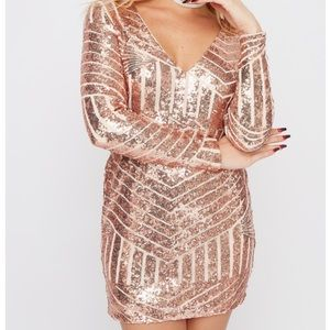 NWT Stunning Rose Gold Party Sequin Dress SZ XL
